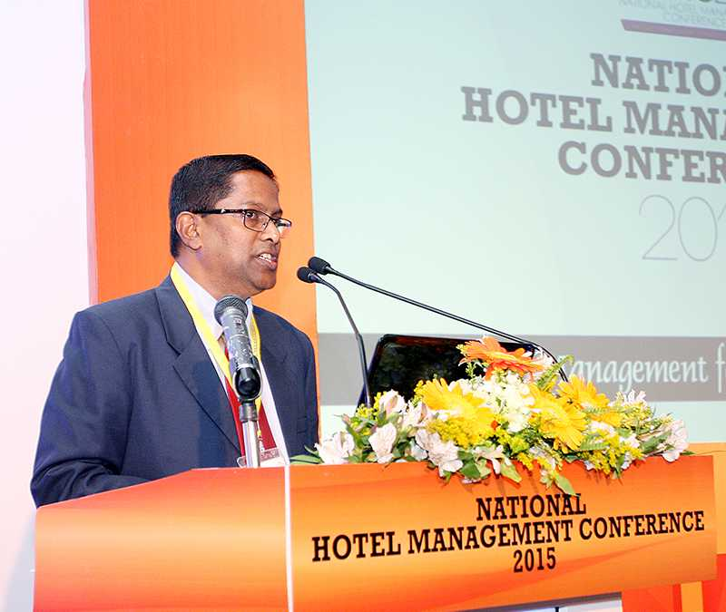Addressing the gathering at the National Hotel Management Conference 2015