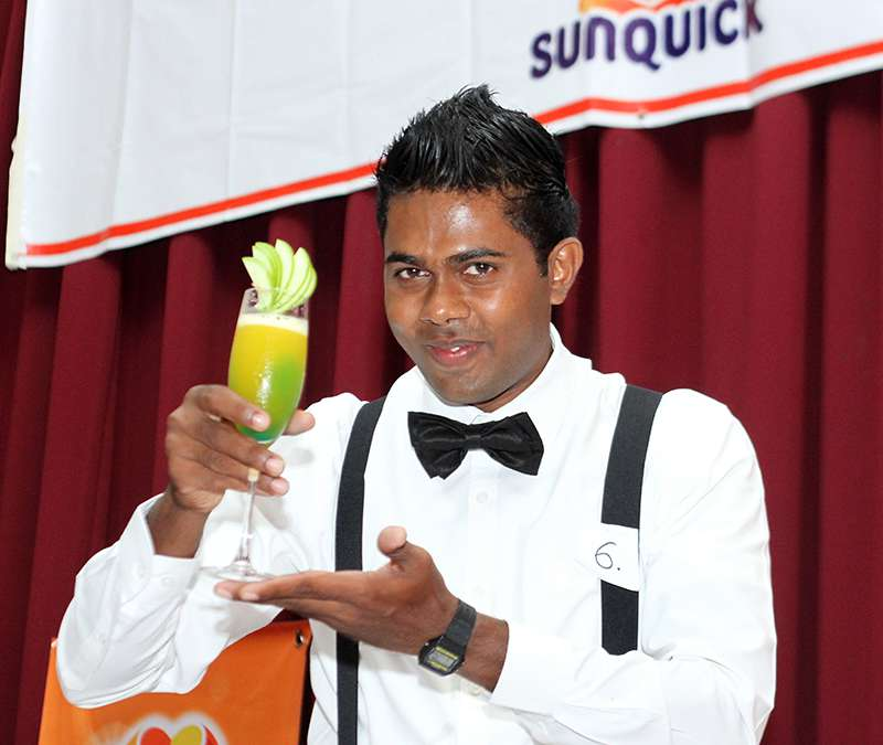 Contestant with the cocktail