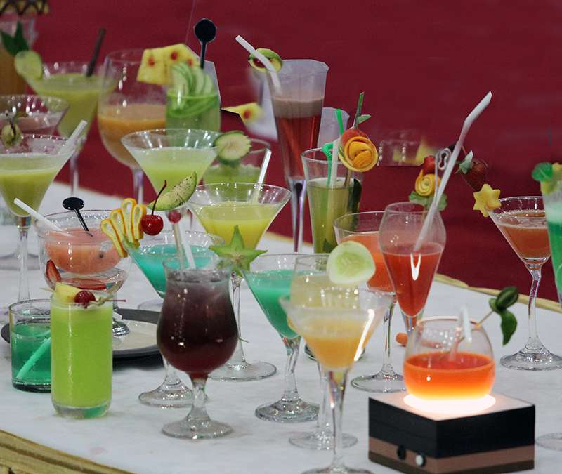Nicely arranged Cocktails of different colours