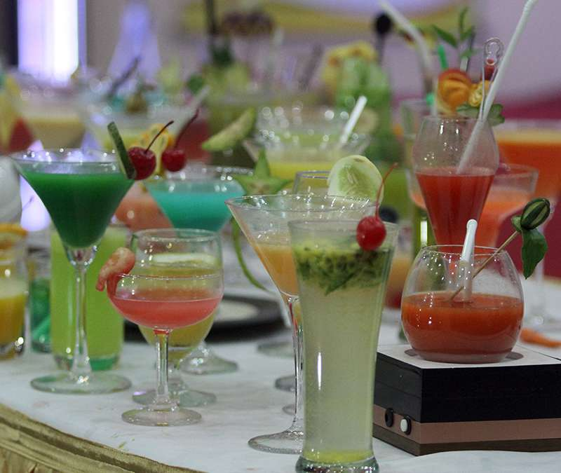 Different cocktails of different colours